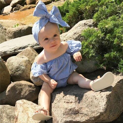 ccbdf7dc2 ky Blue Infant Baby Girls linen Striped Romper + headband off the ...