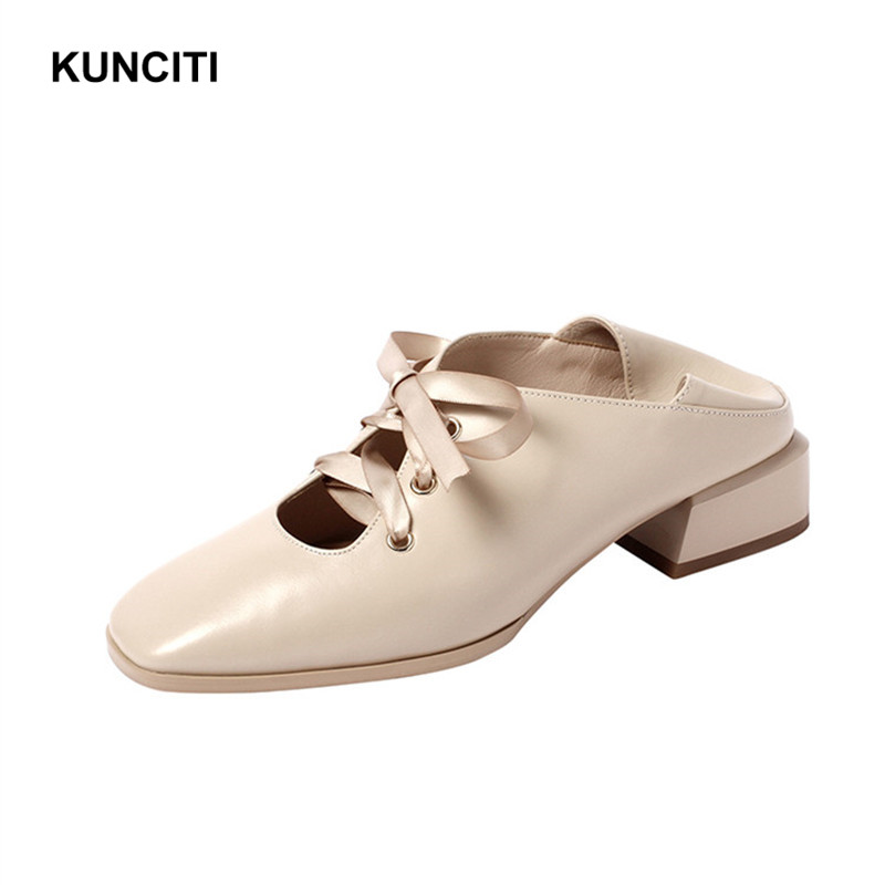 2019 Slip On Shoes For Women New Designer Genuine Leather Loafers Square Toe Fashion Flat Shoes