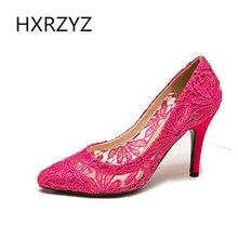 Zapatos del banquete de boda de la moda nupcial vestido de dama de la Mujer atractiva blanca de punta estrecha del cordón dulce bombea los zapatos de tacón alto de señora-5 colores