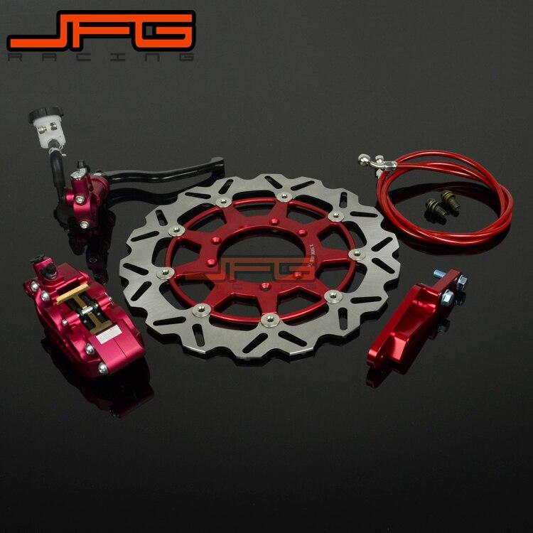 Motorcycle Front Brake System Lever Master Cylinder Hose 4 Pot Caliper Adaptor 320MM Disc For HONDA CR125 250 CRF250R 450R CRF motorcycle front brake master cylinder brake lever