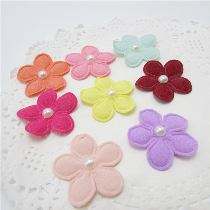 40PCS/lot 3.5cm flower felt padded applique with pearl Crafts for garment accessories and Girl Hair Jewelry Decoration