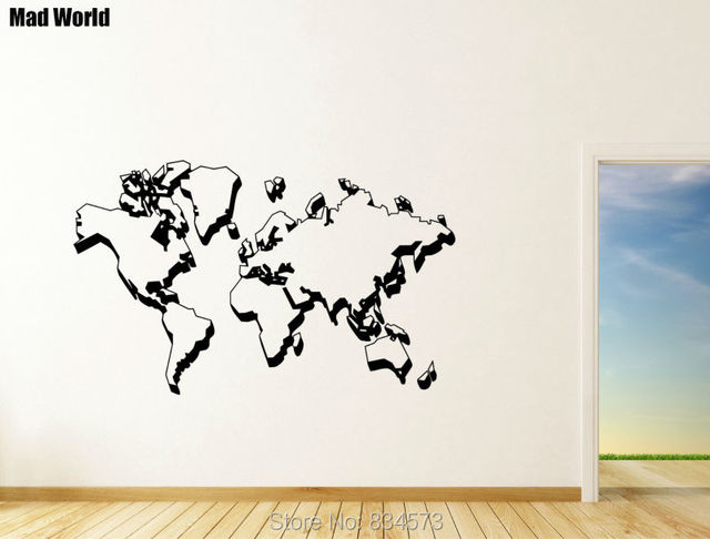 mad world large world map silhouette wall art stickers wall decal home diy decoration removable