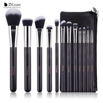 fc68f58bf DUcare 12 piezas maquillaje profesional cepillo cosméticos conjunto con  bolsos de cuero mango de madera cepillo conjunto de maquillaje de alta  calidad