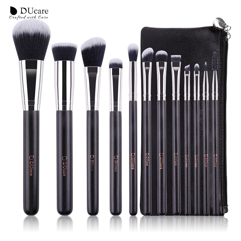 DUcare 12Pcs professional Makeup Brush Cosmetics Set with Leather Bags Wooden handle high quality makeup brush set