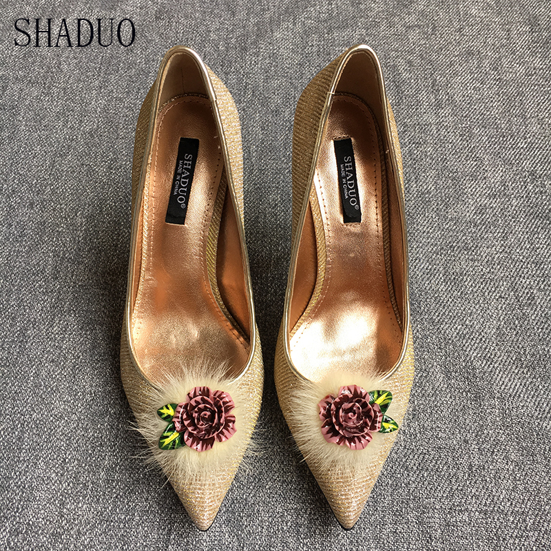 2018 women Silk brocade with noble water mink pointed shallow mouth design high heel single shoes