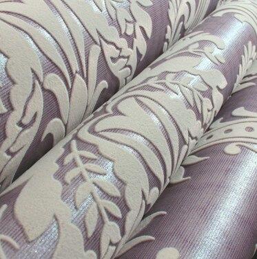 3D Толстые Светло-Фиолетовый Бархат Стекаются Обои Классический Дамаск Background'wall бумаги стекались