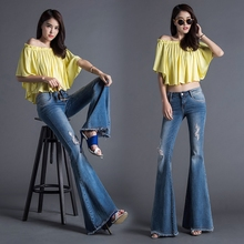 Autumn European Ladies Fashion Hole Flared Jeans Female Elastic Burr Big Horn Wide Leg Pants Slim Trousers K48
