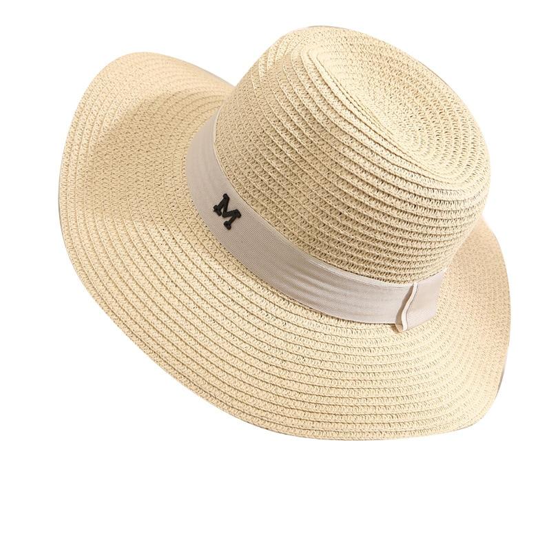 2018 summer new fashion wheat Panama sun hat beach hat ribbon bow knot naval style straw hat woman cap L195