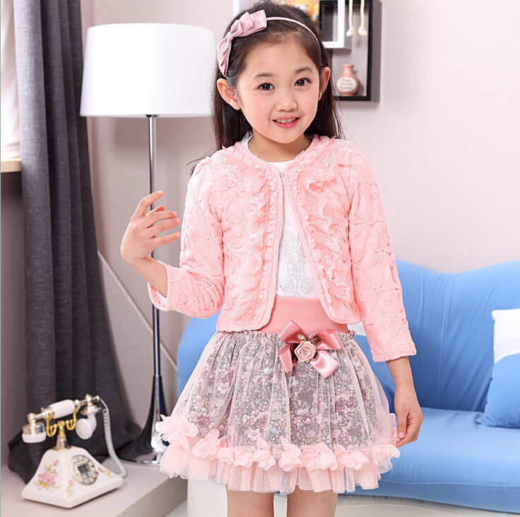 fashion children clothing for kids flower outfits sets girl 3 piece Princess lace ruffle cardigan tops tutu skirts suits HB1135 princess toddler kids baby girl clothes sets sequins tops vest tutu skirts cute ball headband 3pcs outfits set girls clothing