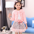 fashion children clothing for kids flower outfits sets girl 3 piece Princess lace ruffle cardigan tops tutu skirts suits HB1135