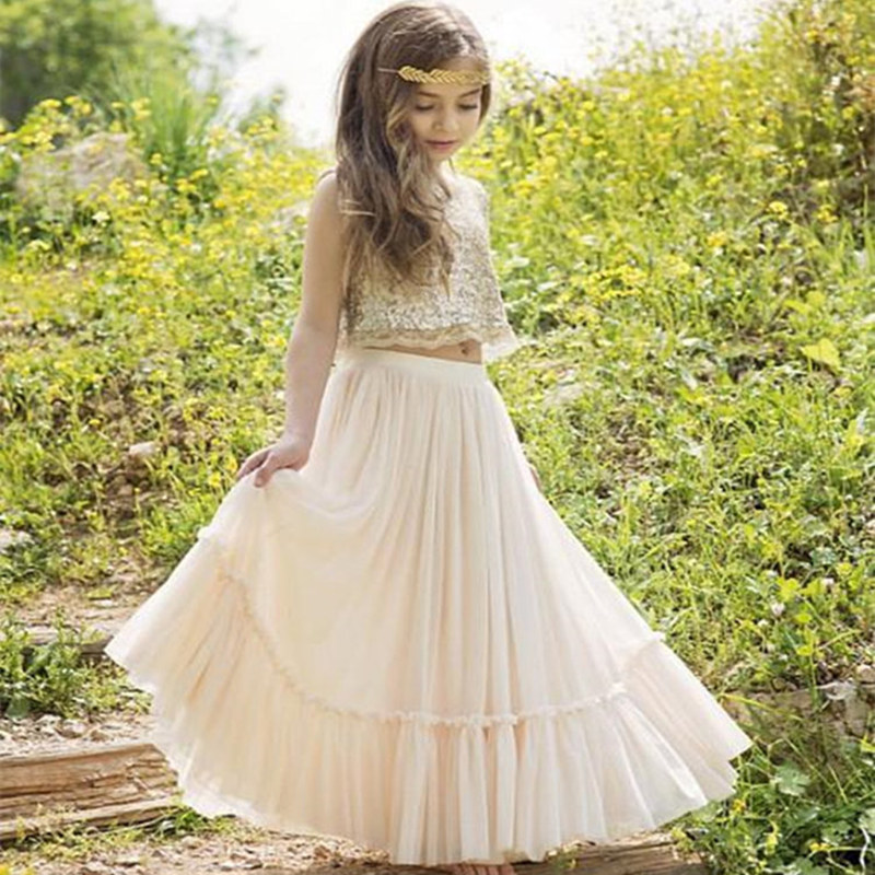 Fashion Sleeveless Gold Sequins Flower Girls Dresses Princess  Party Holiday Wedding First Communion Dresses