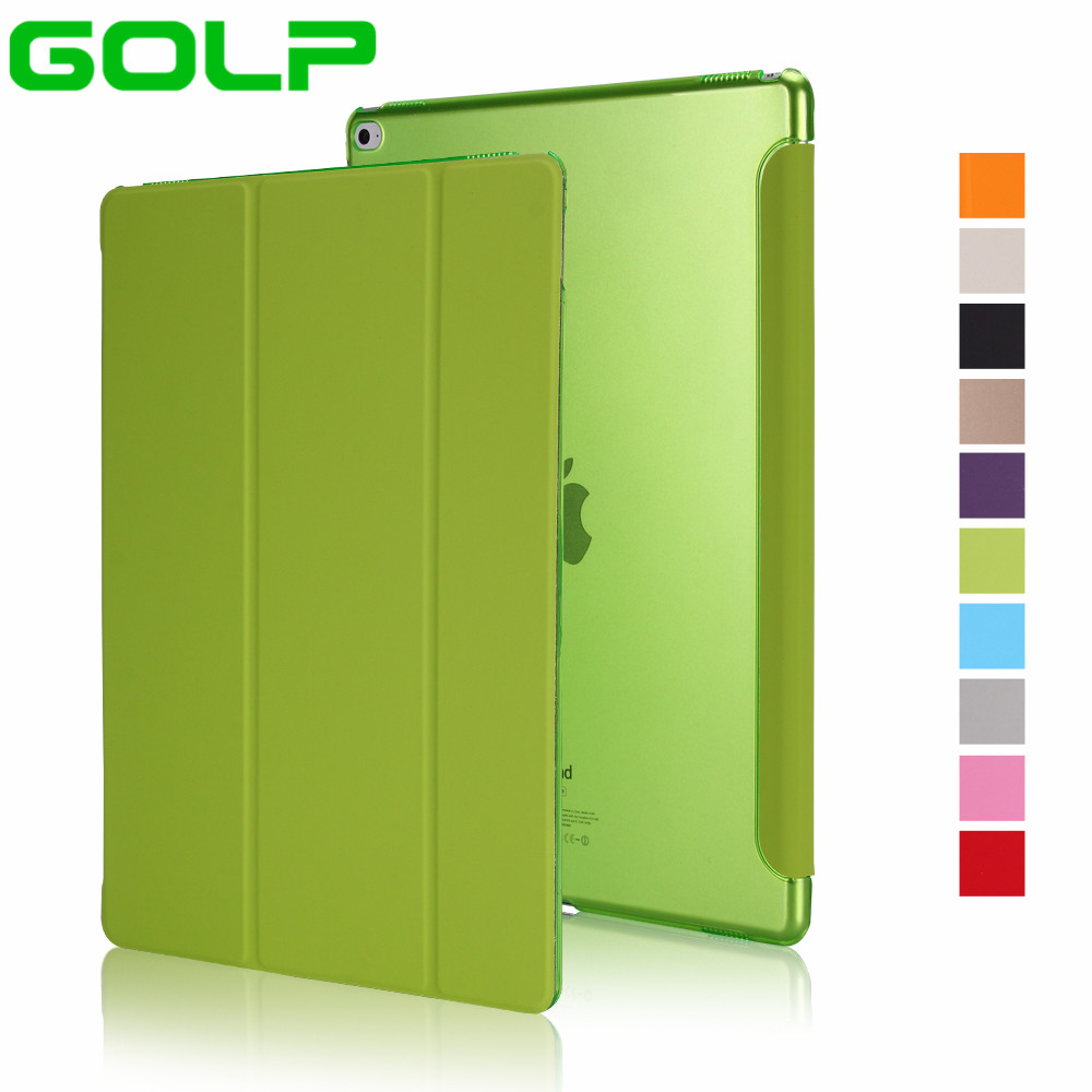Case for iPad Pro 12.9 inch, GOLP hot sale PU Leather Tri-fold Stand Smart Cover Case with Translucent Back for iPad Pro 12.9 2pcs free shipping pneumatic valve solenoid valve 3v410 15 nc normally closed dc24v ac220v 1 2 3 port 2 position 3 2 way