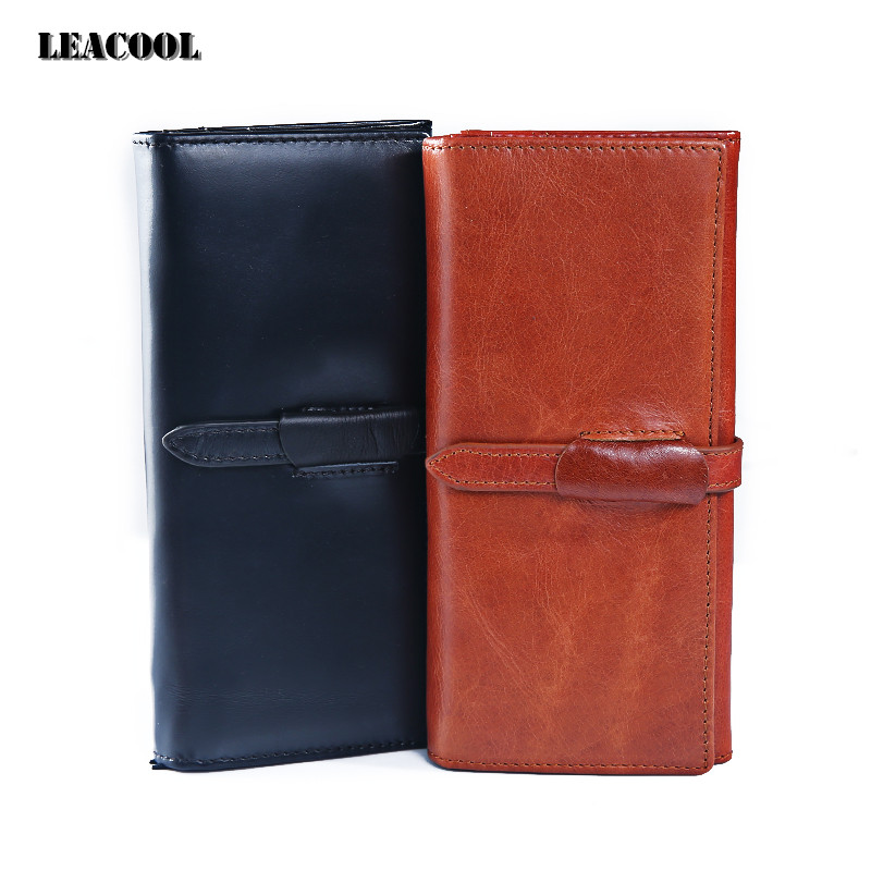 Leacool Women Wallets Brand Design High Quality Genuine Leather Wallet Female Hasp Fashion Dollar Price Long Purse Card Holder women wallet 2017 high quality leather dollar price women purse card holder female purse with phone holder carteira feminina