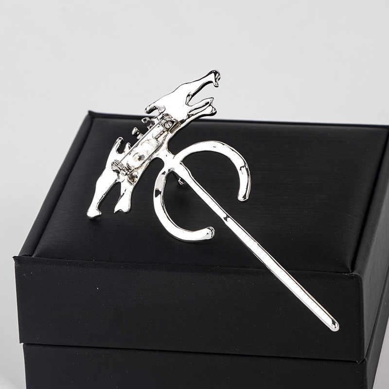 Baru Vintage Logam Dual Serigala Kepala Bros Perhiasan Jarum Panjang Kerah Pin Lencana Jilbab Pin dan Bros Syal Gesper Pria aksesoris