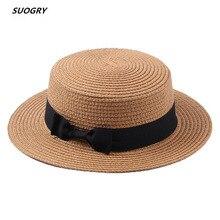 SUOGRY Летняя женская пляжная шляпа, Женская Повседневная Панама, женская брендовая Классическая соломенная шляпа с бантом на плоской подошве, Женская фетровая шляпа