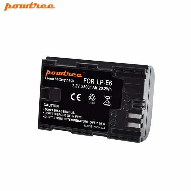 Powtree For Canon 1x 7.2V 2800mAh LP-E6 Rechargeable Camera Battery Replacement LP E6 LPE6 5D 6D 7D 60D 60Da 70D 80D DSLR