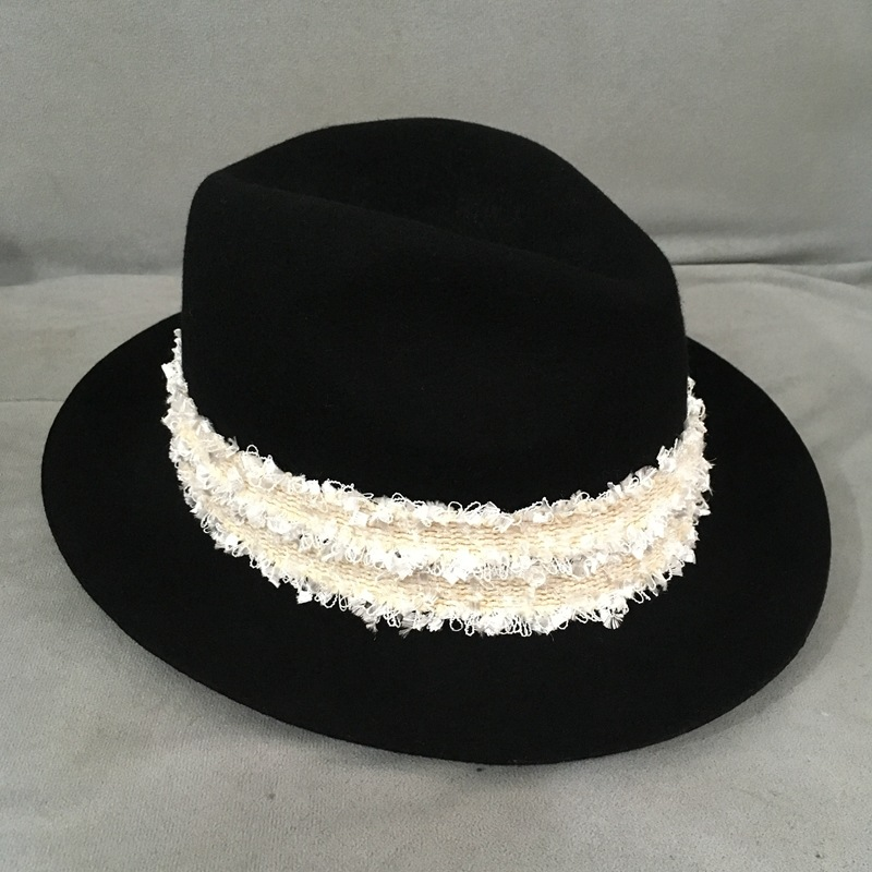 5pcslot 01811-nao % wool  white ribbon M letters hat men women outdoor fedoras cap wholesale