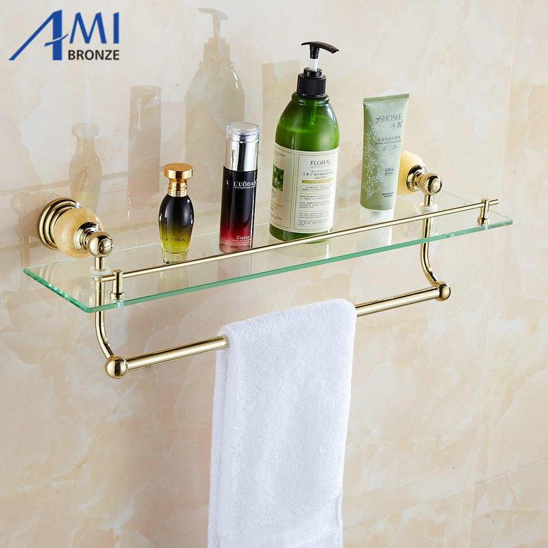 62 Jade Series Golden Polished Bathroom Shelves Bathroom Accessories Towel Holder Towel  ...