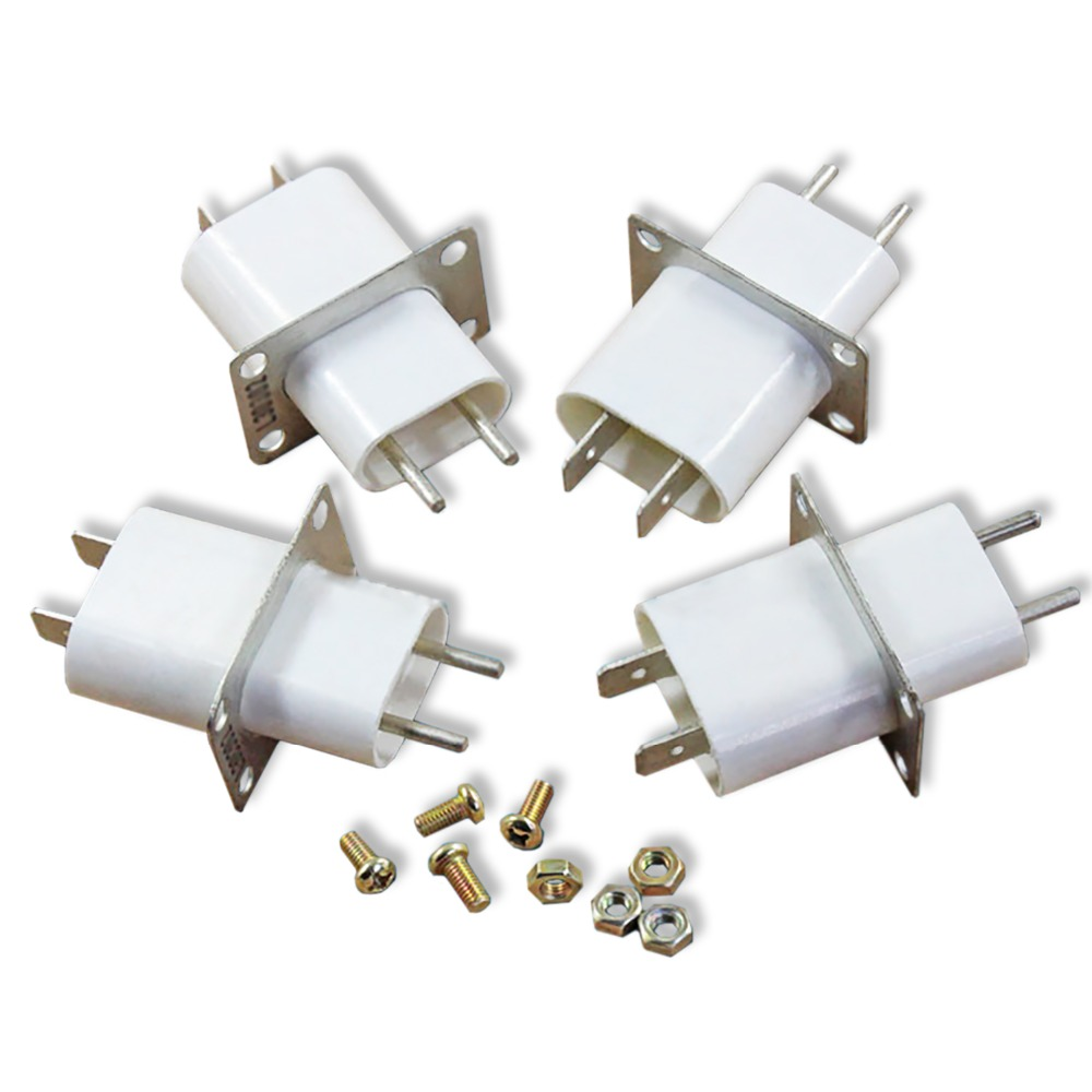 цена на 4Pcs/Lot New Microwave Oven Magnetron Accessories Launch Tube Socket Heating Tube High Voltage Filament Plug Connector Socket
