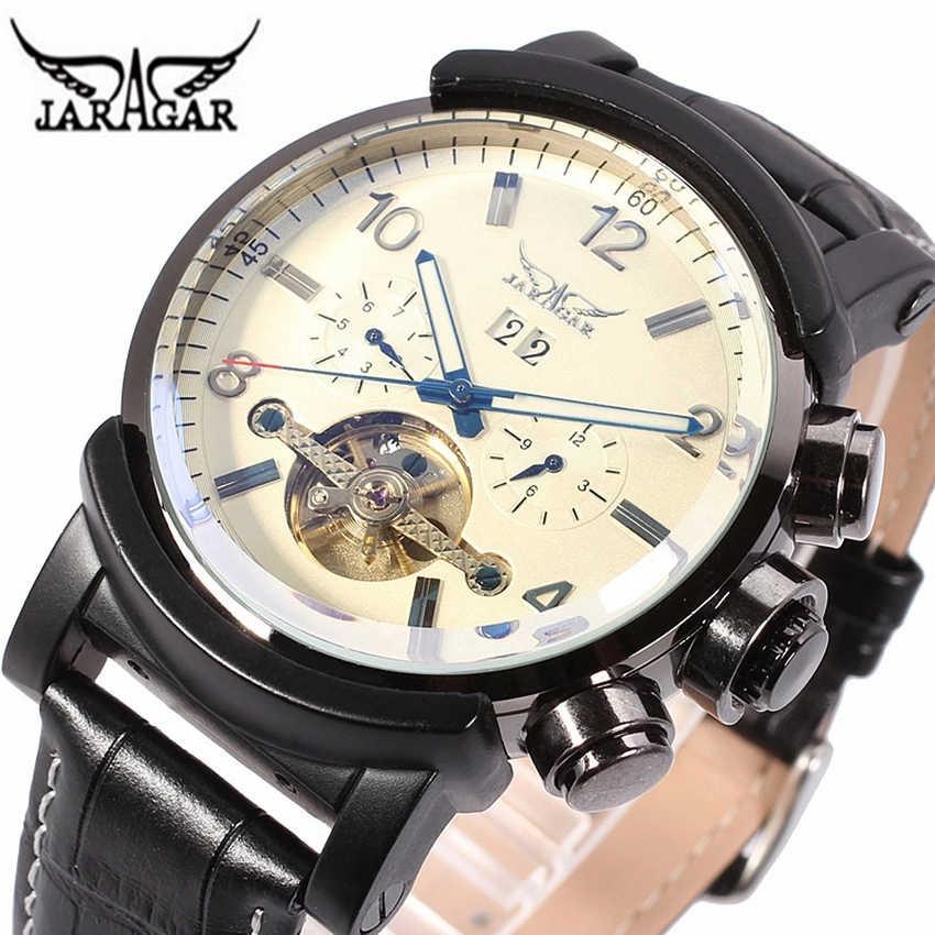 Jaragar新しい黒時計男性自動機械式腕時計メンズ高級ブランド有名なレザー腕時計時計男性レロジオmasculino