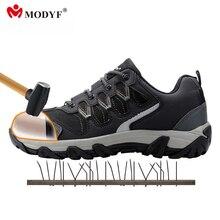 Modyf мужские рабочие ботинки со стальным носком обувь повседневная Светоотражающие дышащий Уличная обувь проколов защиты, обувь
