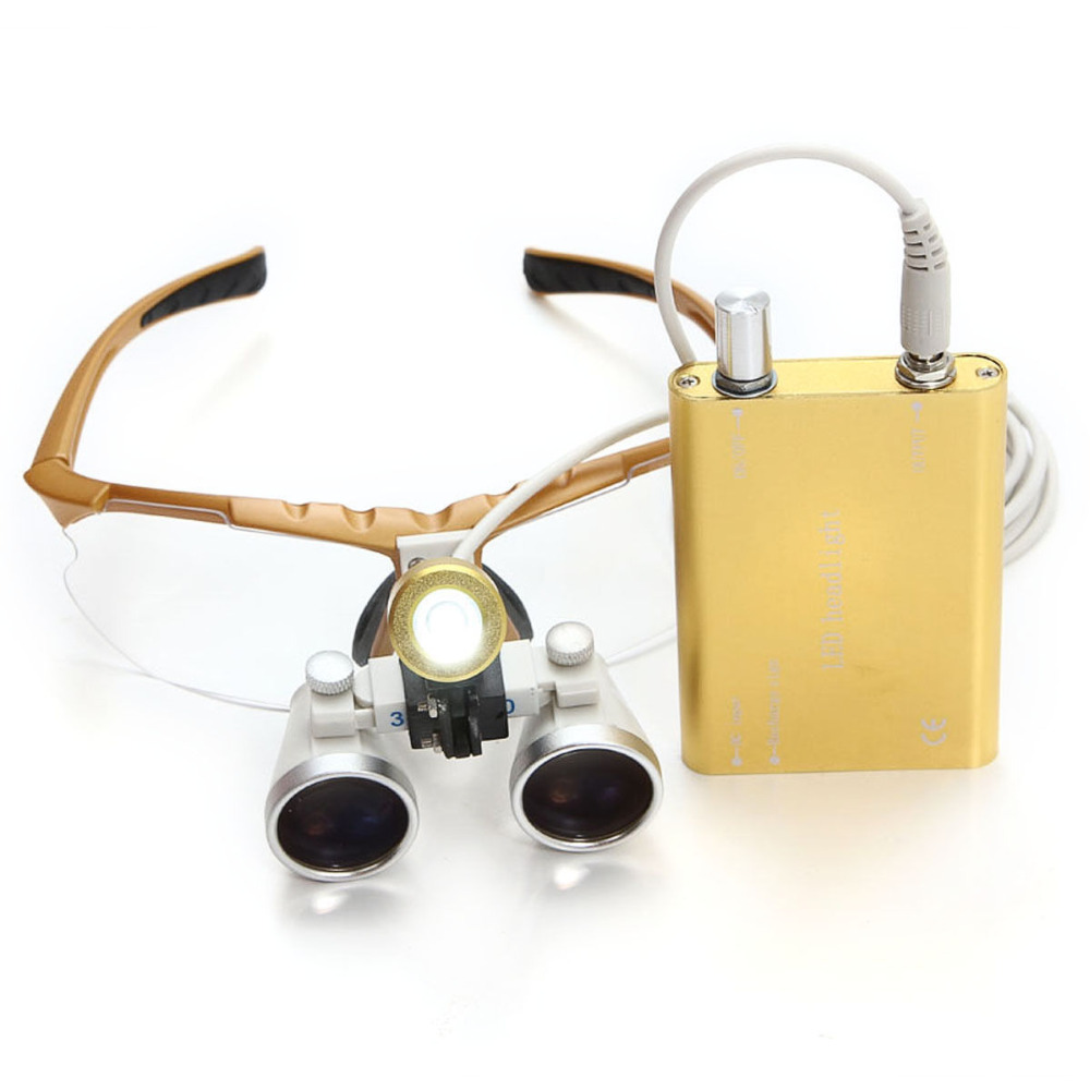 Golden High-end Luxury Brand New Dentist Yellow Dental Surgical Medical Binocular Loupes 3.5X 420mm Optical Glass Loupe +Case high end luxury 2 5x 320mm dentist surgical medical binocular loupes led dental lampe headlight optical glass loupe set black