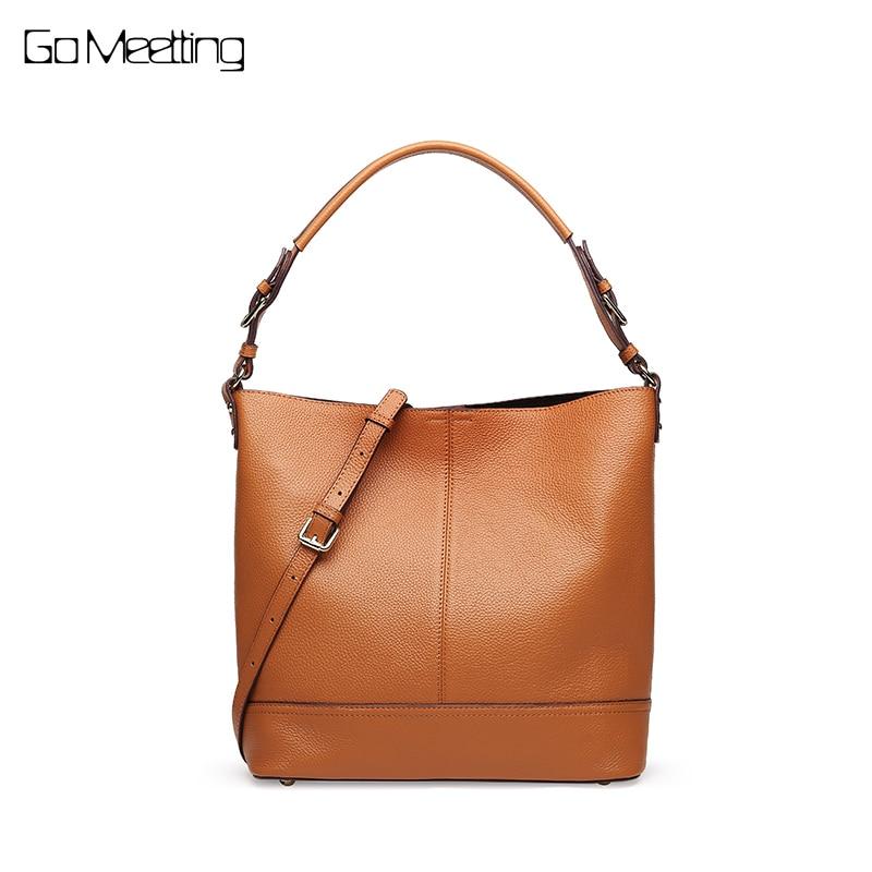 Go Meetting Brand Genuine Leather Women Handbags Composite Bags High Quality Female Shoulder Bags Ladies Cowhide Crossbody Bag все цены