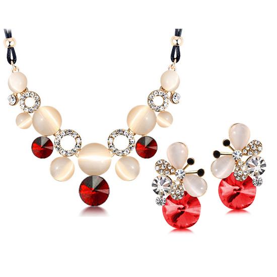 Women Austrian Crystal Opal Jewelry Set