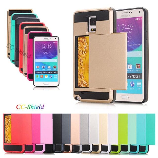 Case for Samsung Galaxy Note 4 Note4 N910C N910U N910F N910V SM-N910U SM-N910F SM-N910V Slide card holder Case protective cover