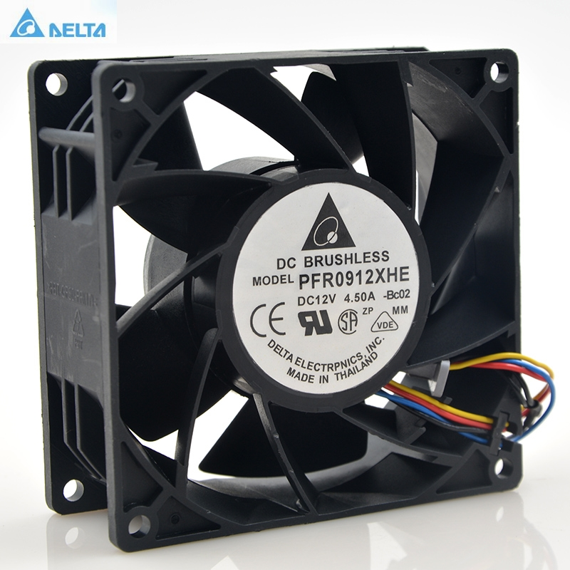 Delta PFR0912XHE 9CM 90mm 4.5A 90*90*38mm DC 12V Server Extensions machine cooling fan original delta afb0912shf 9032 9cm 12v 0 90a dual ball bearing cooling fan page 1