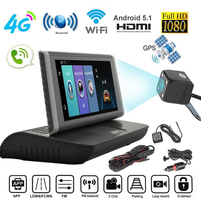 8 Cal 4G Android 5.1 Bluetooth Wifi podwójny obiektyw Full HD 1080P ADAS FM Dashcam rejestrator samochodowy gps do ciężarówek film nawigacyjny rejestrator