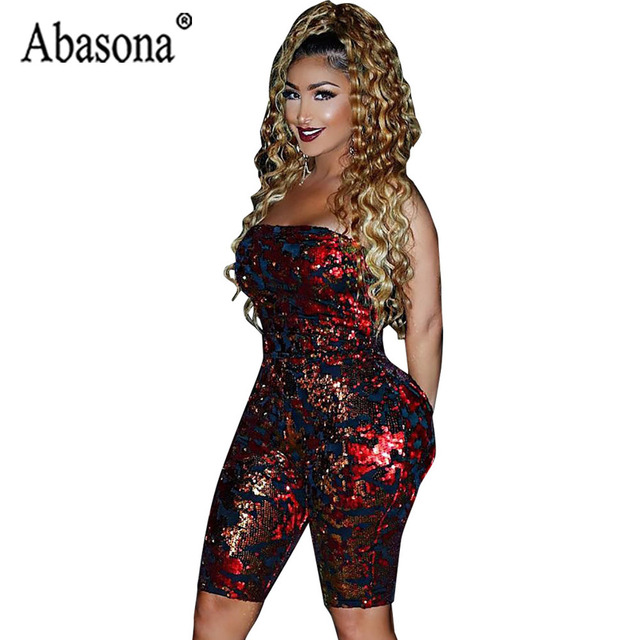 2b78db3403 Abasona Sexy Nightclub Women Wine Red Sequin Playsuit Backless Sleeveless  Strapless Jumpsuit Women Bodycon Romper Half Jumpsuit