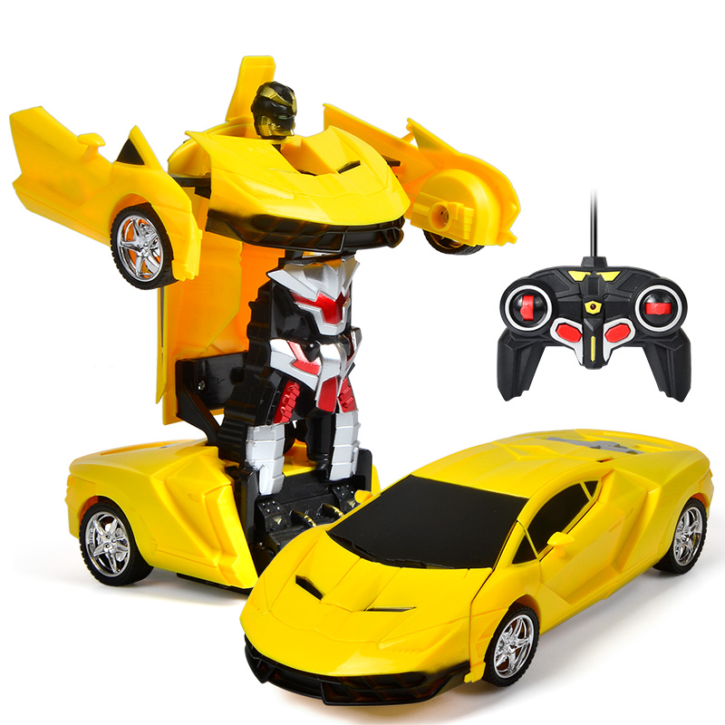 In Stock! Children RC Toys Electric Remote Control Racing Car Transformer Robots One-key Deformation Vehicle Kid Halloween Gift
