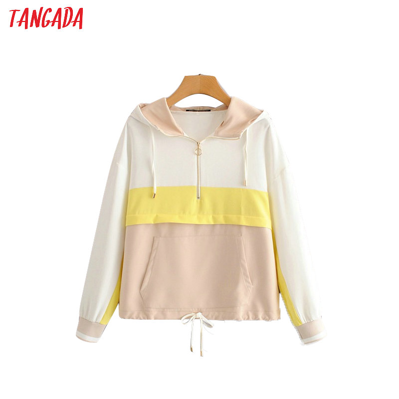 Tangada Women Autumn Hooded Jackets Patchwork Zipper Bomber Jacket Long Sleeve Female Causal Jacket Coats Outerwear HY218