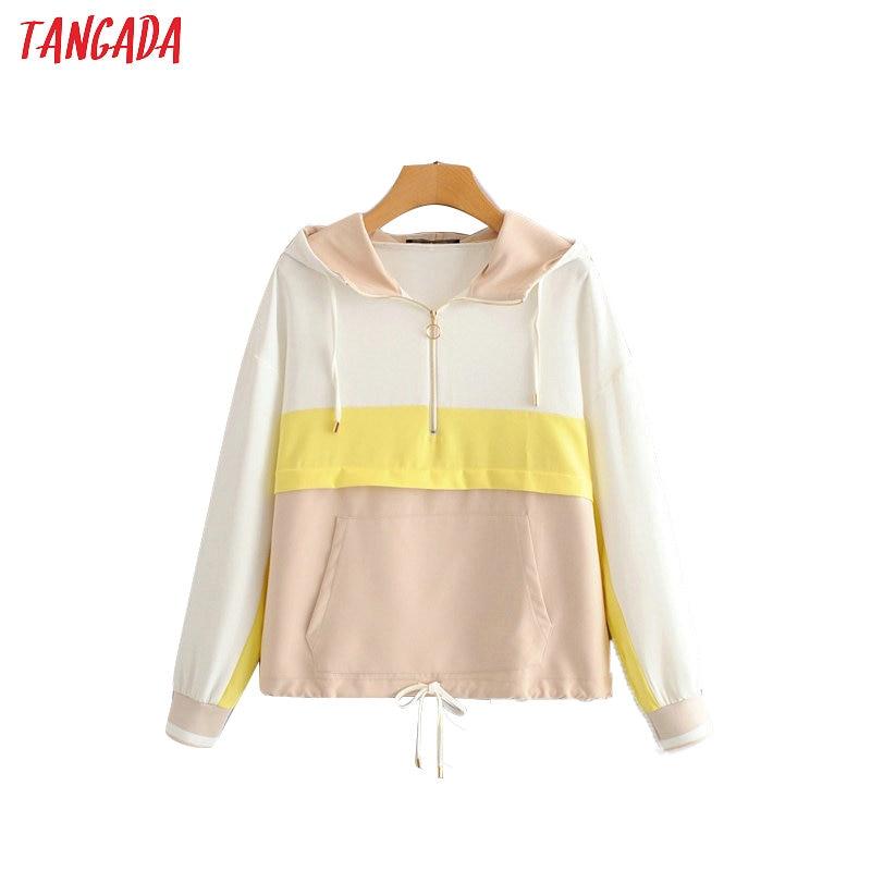 Tangada Women Autumn Hooded Jackets Patchwork Zipper Bomber Jacket Long Sleeve Female Causal Jacket Coats Outerwear HY218