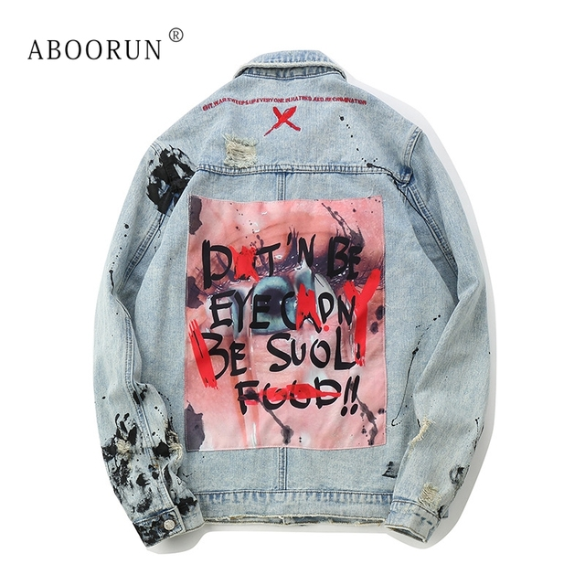ABOORUN Men's Oversized Denim Jackets Hip Hop Patchwork Ripped Jeans Jackets Autumn Streetwear Coat for Male x1281