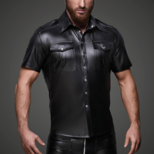 Men Faux leather Shirts PU Leather Men Sexy Fitness Tops Gay Latex Shirt Mens stage Tops Sexy Party Clubwear sexy midriff baring tops
