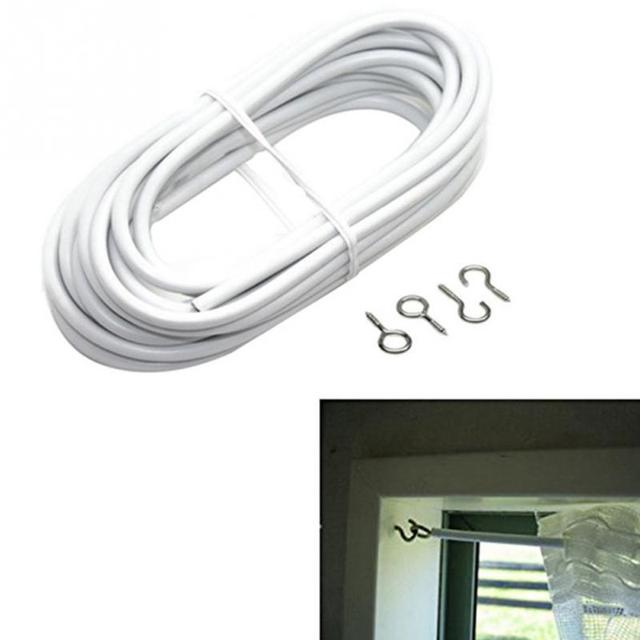 Net Hang Curtain Wire White Window Cord Cable 2 3 4m String Set