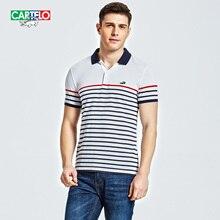 CARTELO brand 2017 new summer men Men s Lapel stripe wrinkle Polo shorts short sleeved men