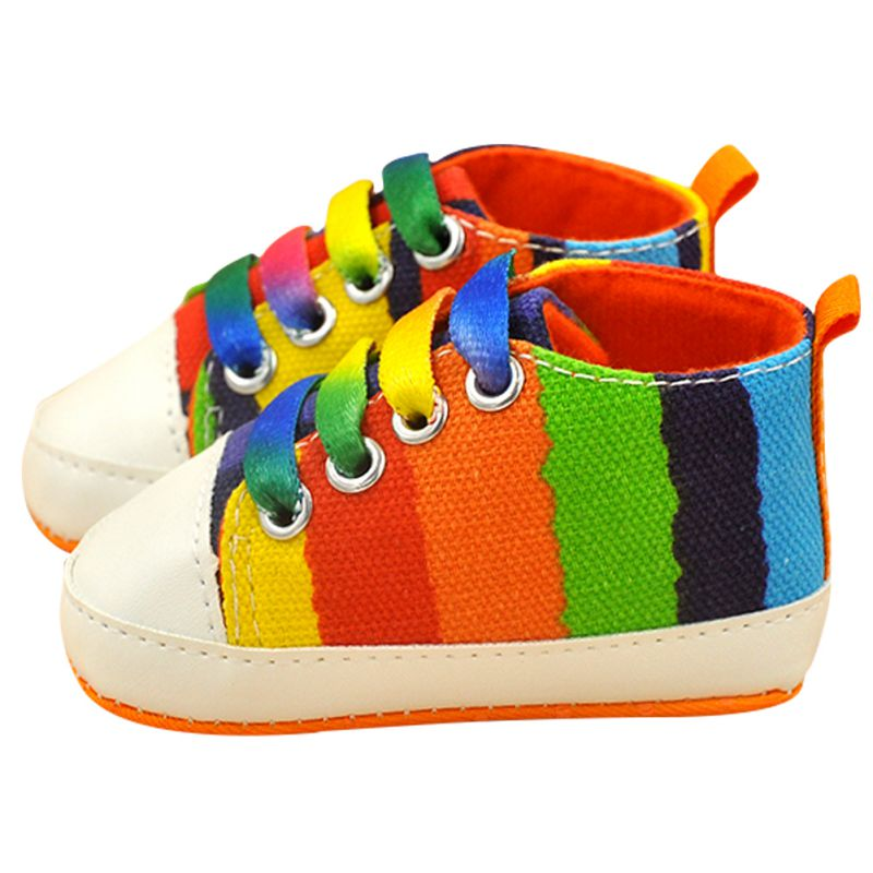 New-Baby-Boy-Girl-Soft-Sole-Shoes-Cotton-Carvan-Sneakers-Laces-Crib-Shoes-0-18M-Rainbow-Color-1