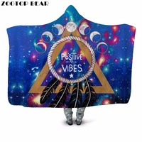 Positive Vibe 3D Printed Plush Hooded Blanket for Adult Child Couch Warm Wearable Fleece Throw Sofa Blanket Home Office Washable
