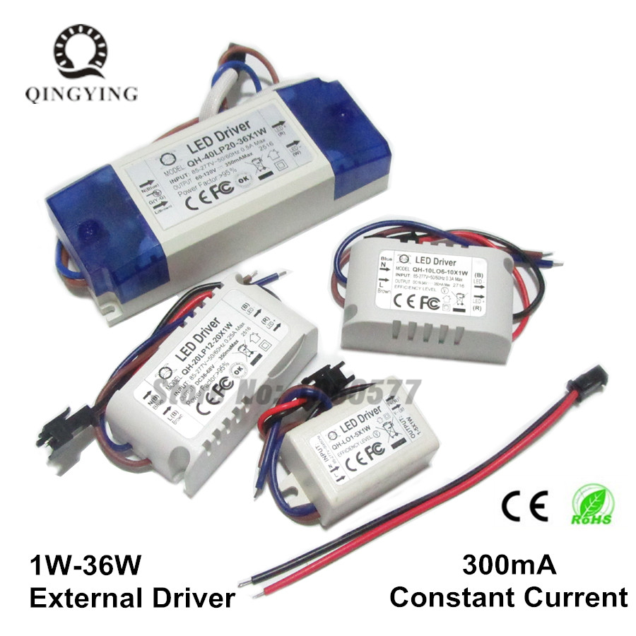 300mA LED Driver 1W 5W 10W 20W 30W 36W Lamp Lighting Transformers 1 5 10 20 30 w Watt Outdoor Lights Power Supply цены