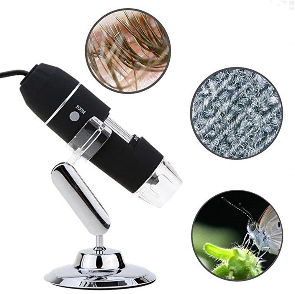 Portable USB Digital Microscope 40x-1000x Magnification 8-LED Mini Microscope Endoscope Camera Magnifier with Stand цена