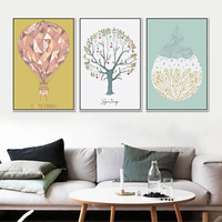 HAOCHU Triptych Geometric Travel Balloon Spring Tree Water Drop Rain Canvas Painting Wall Poster for Wedding Home Decor Gift