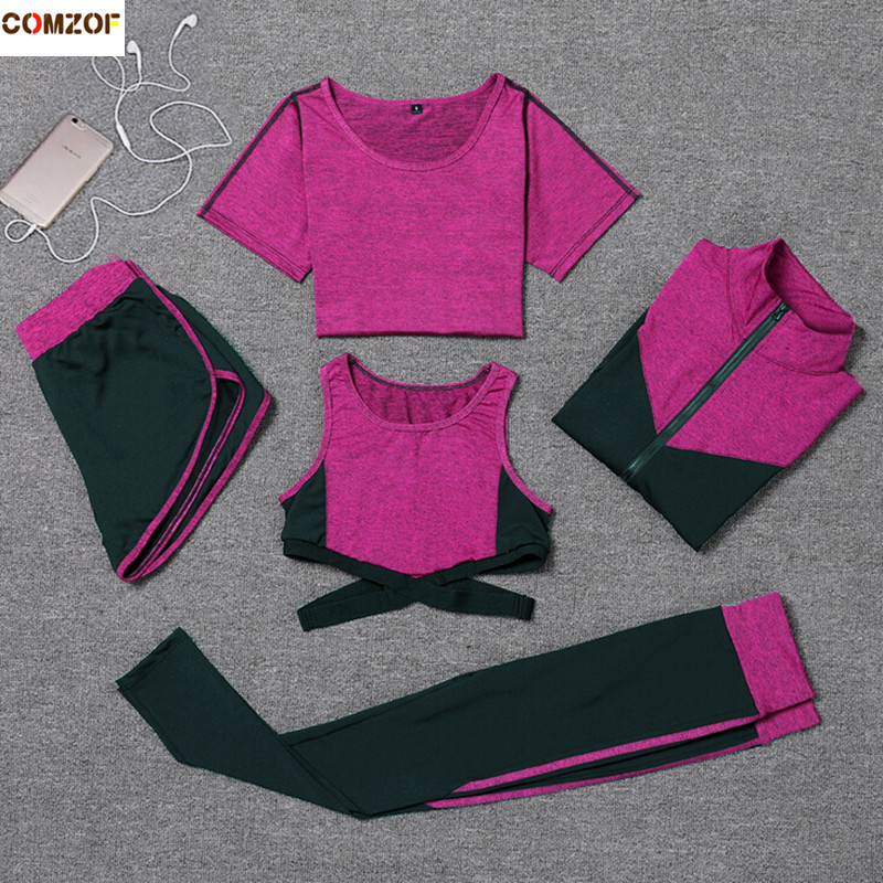 Sportswear women yoga sets patchwork coats+t shirt+sexy bra+shorts+pants fitness gym 5 pieces set quick dry running clothing image