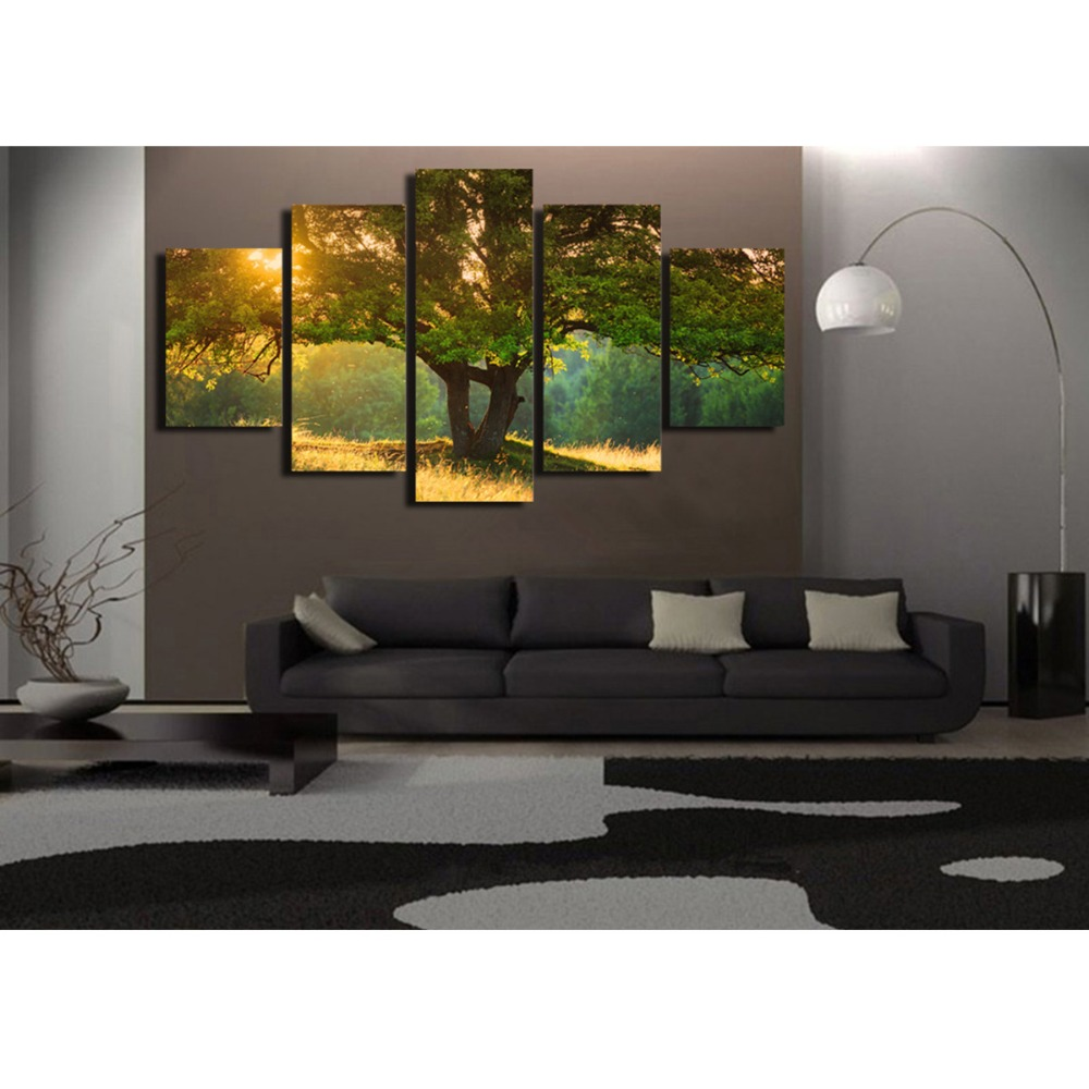 hd print 5 panel art tree in the sunset poster painting. Black Bedroom Furniture Sets. Home Design Ideas