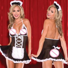 New erotic lingerie temptation sexy costumes Maid uniform Cosplay sexy lingerie White Lace Black Ribbon Perspective