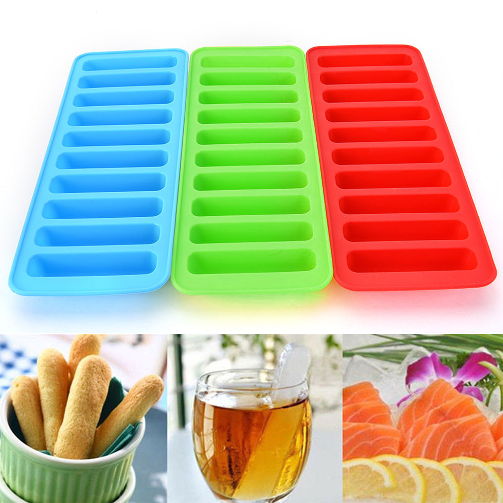 1Pc Silicone Ice Cube Tray Strip Shape Watter Bottle Ice Cream Molds Reusable Frozen Mould Cookie Maker Kitchen Gadget