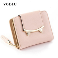 2016 Korean Cute Cat Anime Leather Trifold Slim Mini Wallet Women Small Clutch Female Purse Coin