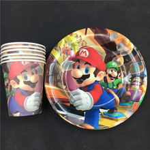 60pcs Super Mario theme paper cup+7inch plate tableware for birthday,party cup*30pcs+plate*30pcs
